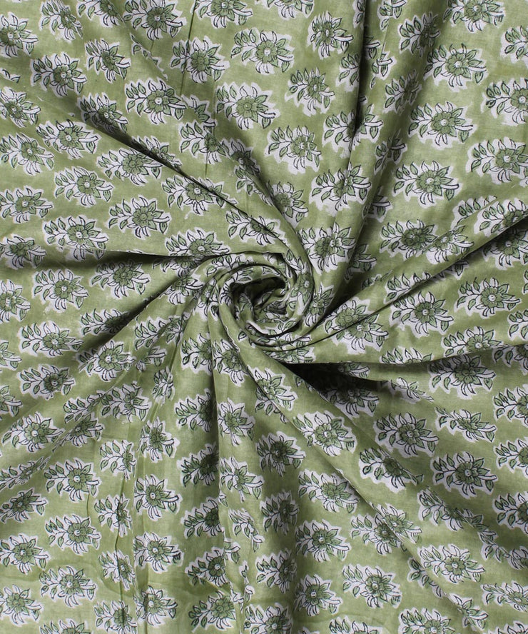 Lime Green Handblock Print Cotton Fabric