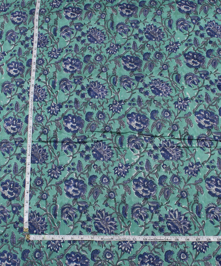 Cyan Green Handblock Print Cotton Fabric