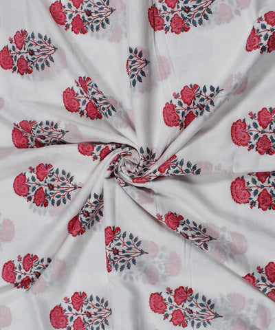 Pink Floral Block Print White Cotton Fabric