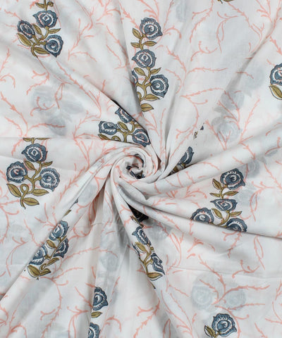 Blue Floral Block Print White Cotton Fabric