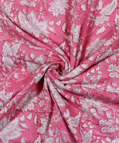 Pink White Floral Block Print Cotton Fabric
