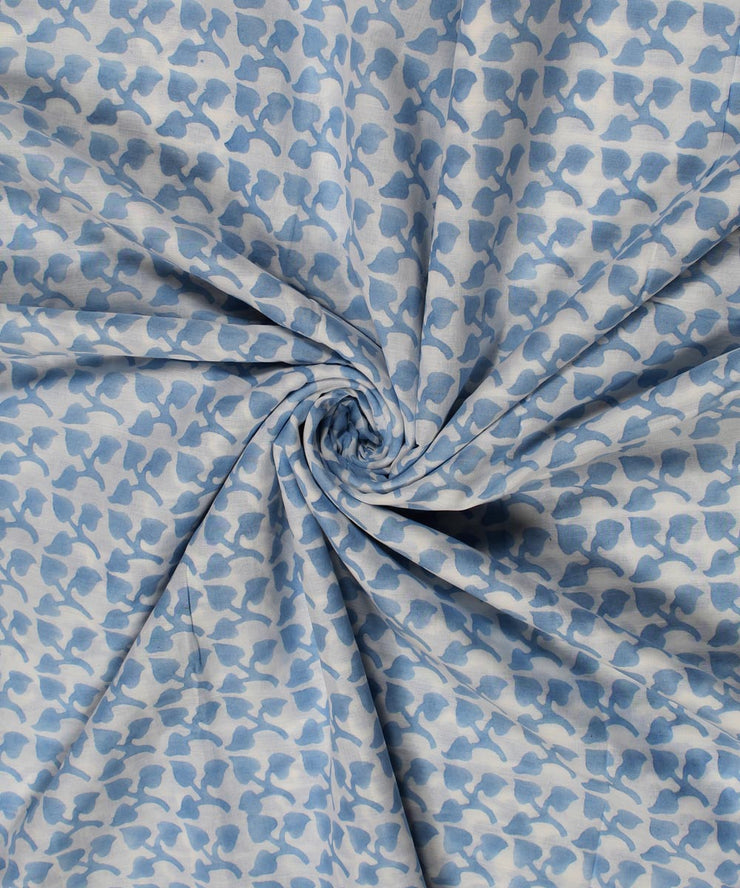 White Blue Floral Block Print Cotton Fabric