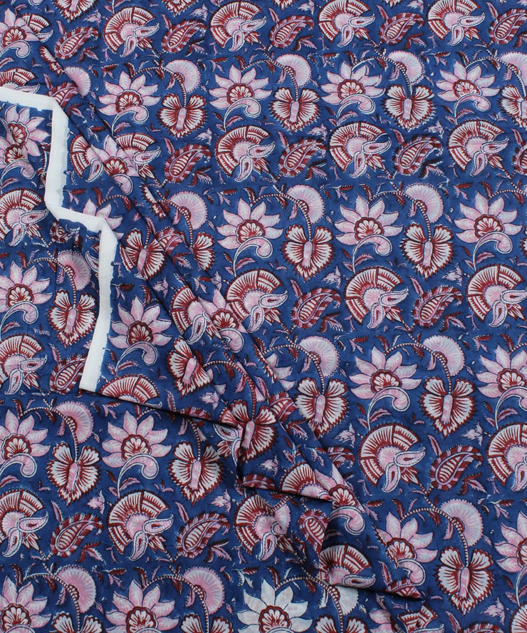 Navy Blue Floral Block Print Cotton Fabric