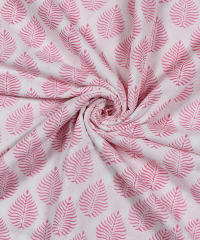 White Handblock Printed Cotton Fabric