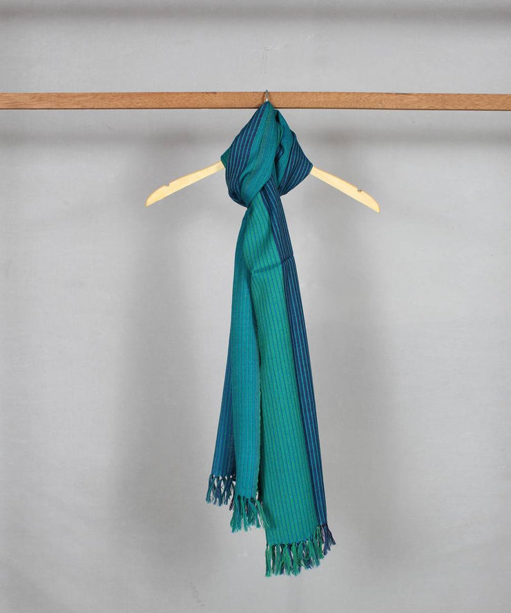 striped blue green handloom woolen stole
