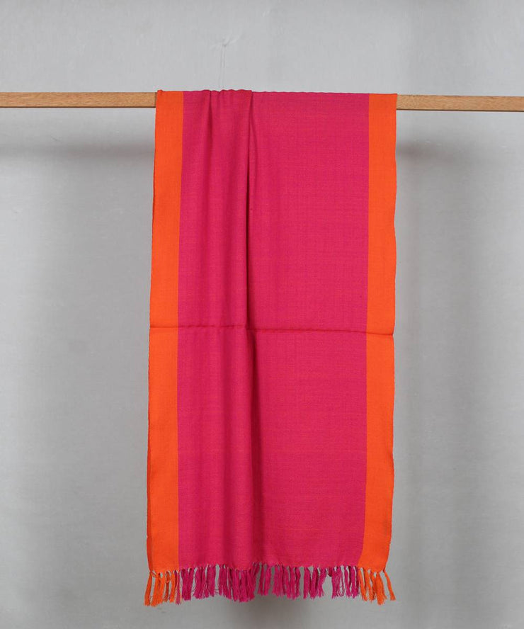 pink orange handloom woolen stole