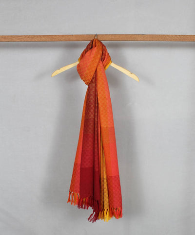 yellow peach handloom woolen shawl