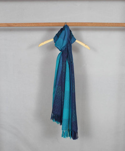 shades of blue stripes handloom woolen shawl