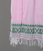 pink assam stole in green floral motif