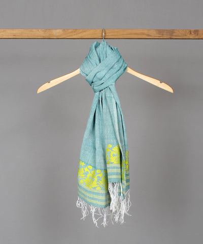 Sea green assam stole in yellow floral motif