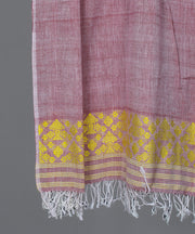 Powder maroon assam stole in floral motif
