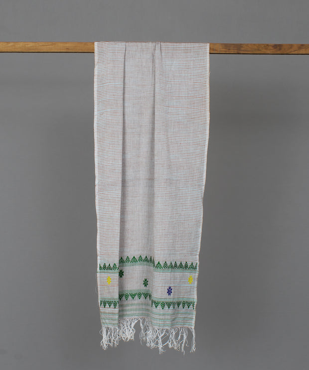 Grey assam stole in green floral motif