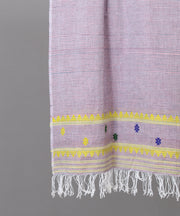 Grey assam stole and yellow traditional motif