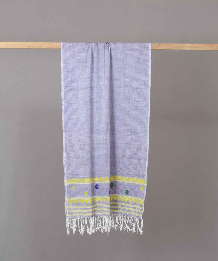 yellow traditional motif lavender assam stole