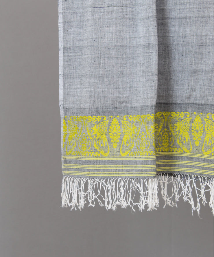 Grey assam stole with yellow floral motif