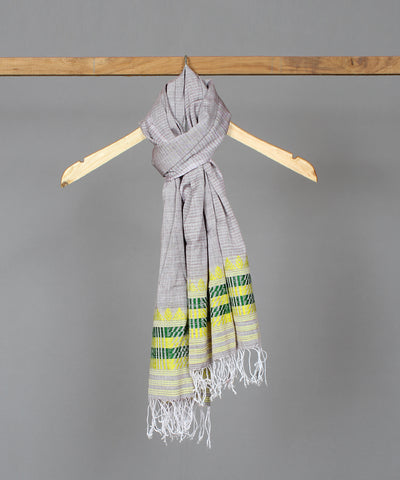 Grey assam stole in yellow traditional motif