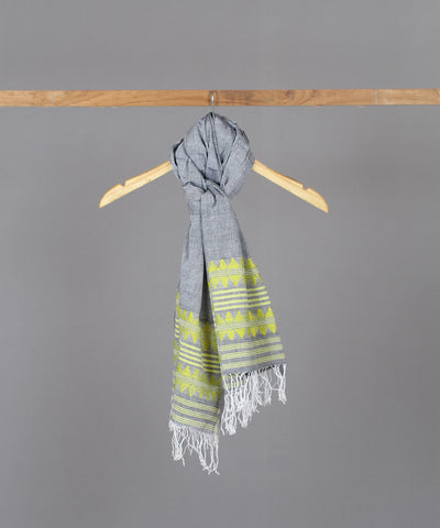 Yellow traditional motif assam stole