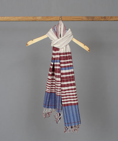 Offwhite kotpad stole in maroon blue traditional border