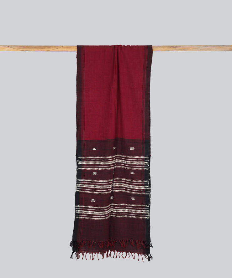 Red Maroon Handloom Kotpad Cotton Stole