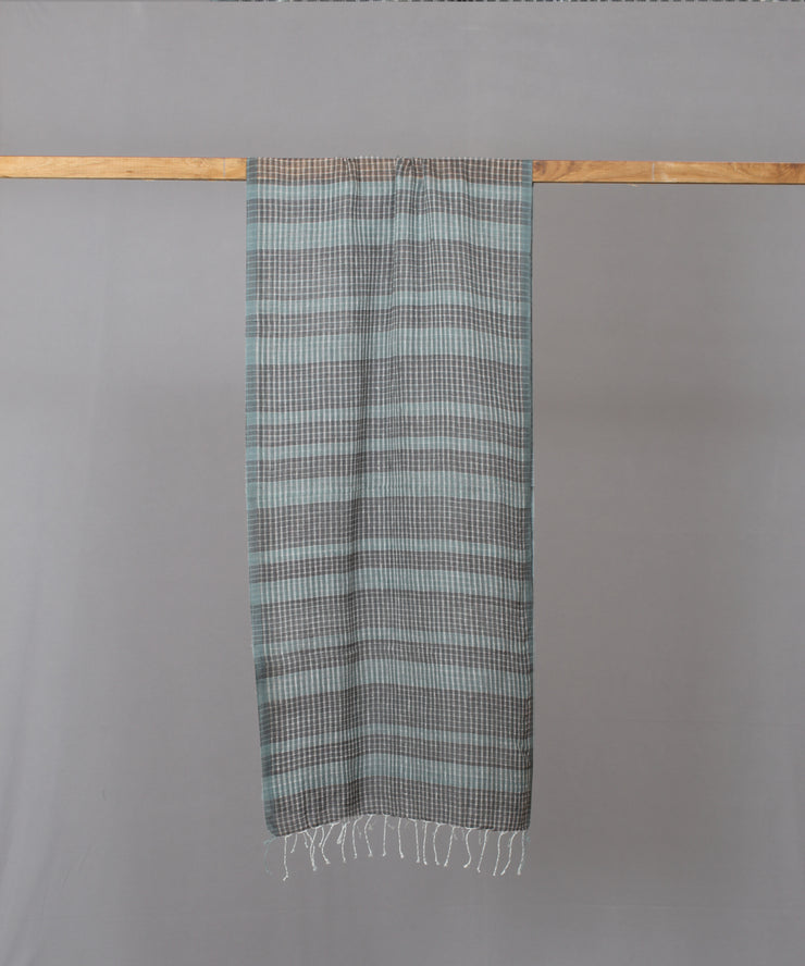 Teal grey checkered stole