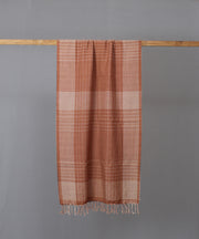 Brown checkered dense weave cotton stole
