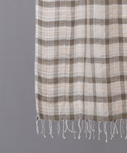 Brown beige checkered woven stole