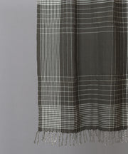 Dark grey checkered dense weave cotton stole