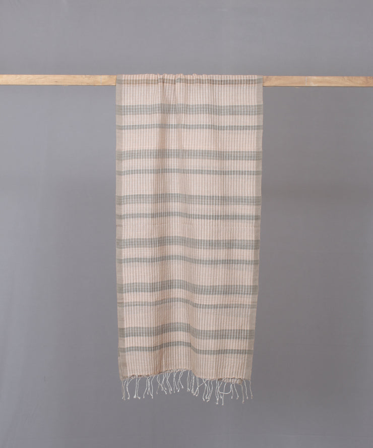 Beige and grey striped stole