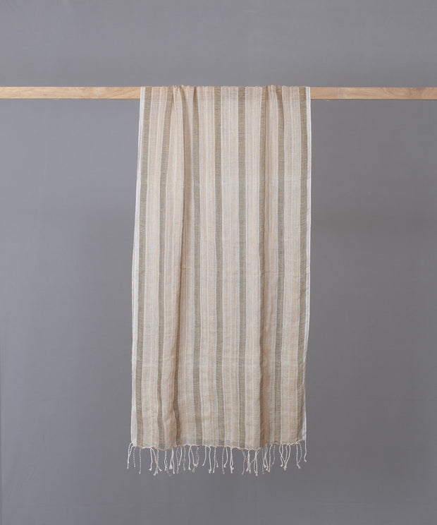 Beige brown striped woven stole