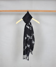handblock printed black cotton stole