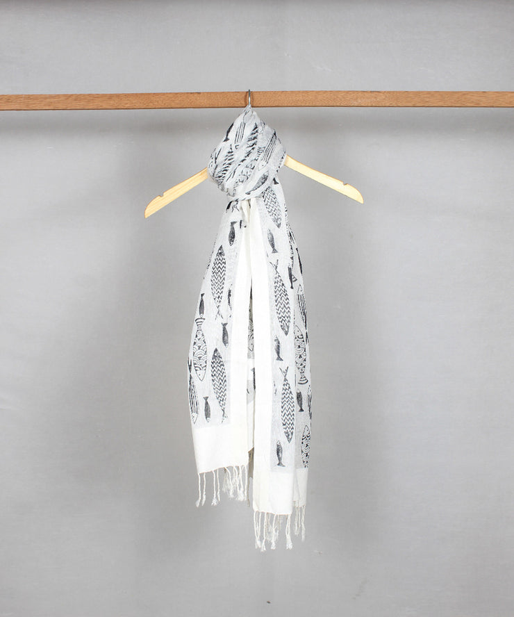 white handblock printed cotton stole