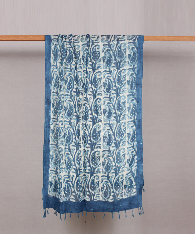 handblock print blue cotton stole