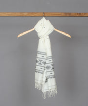 Natural white muslin stole in jamdani black motif