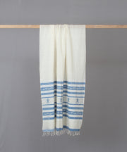 Blue doll motif in white jamdani stole