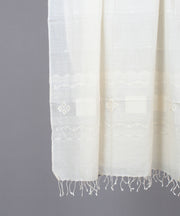 White on white jamdani traditional stole