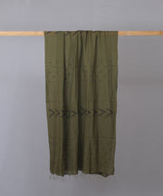 Dark olive with traditional black motif stole