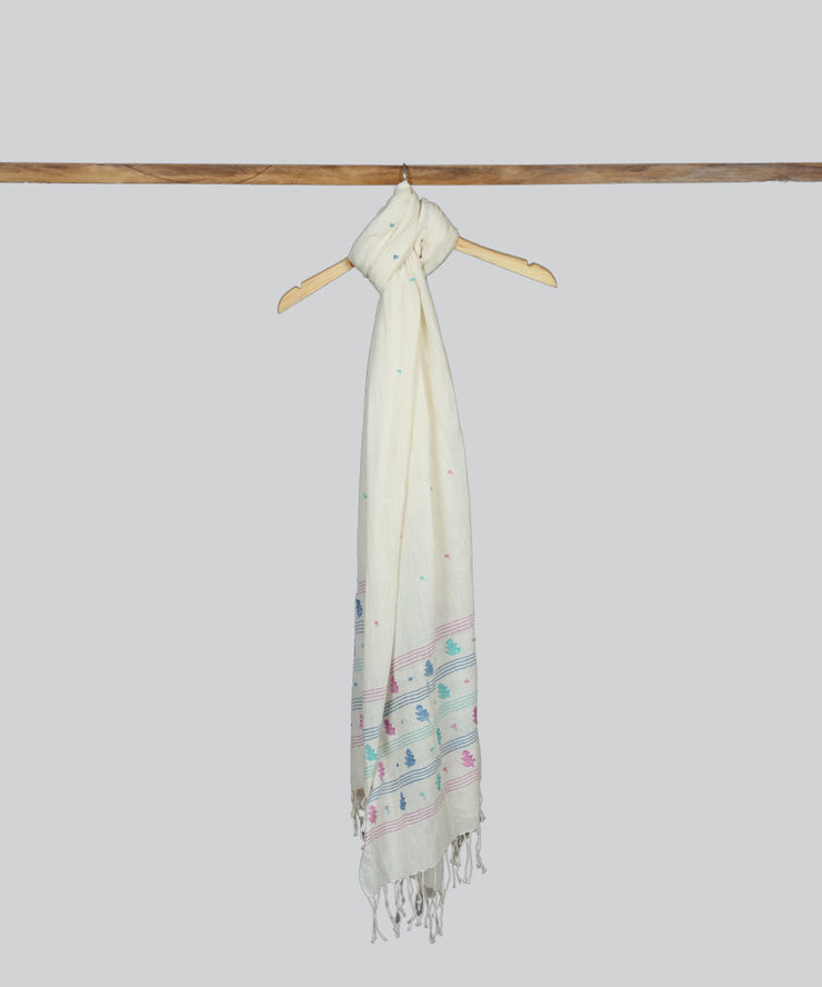 Off White Handspun Handwoven Cotton Stole