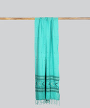 Cyan Blue Cotton Handloom Jamdani Stole