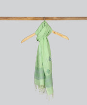 Light Green Cotton Handloom Jamdani Stole