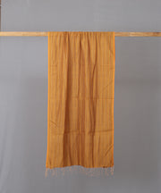 Orange brown silk cotton striped stole