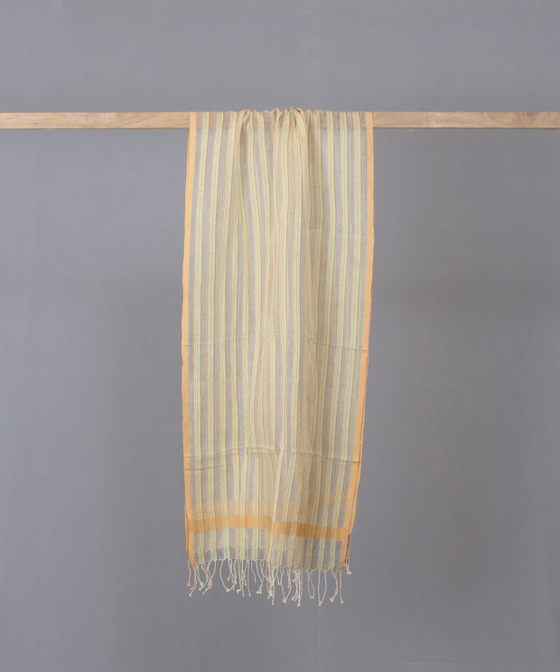 Silk cotton striped peach stole