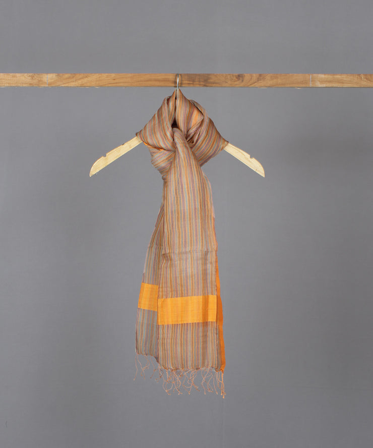 Silk cotton multicolour striped stole