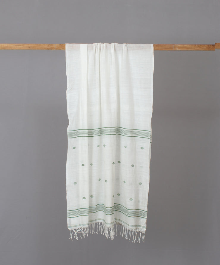 Green motif in white jamdani stole