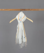 Abstract blue motif in white jamdani stole