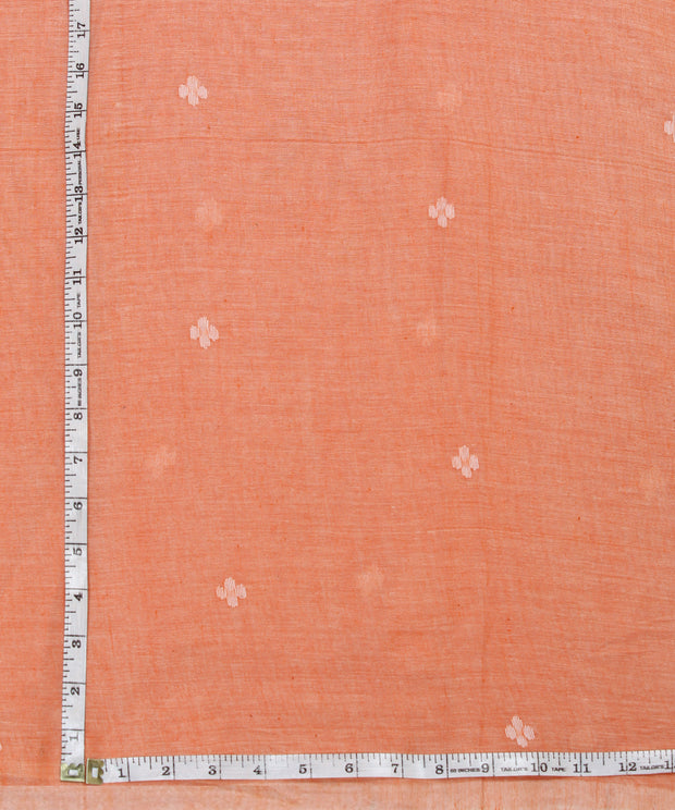light orange handloom muslin jamdani fabric