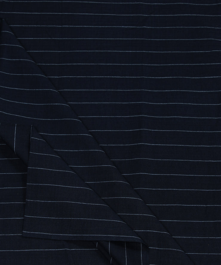 dark navy stripe handloom cotton fabric