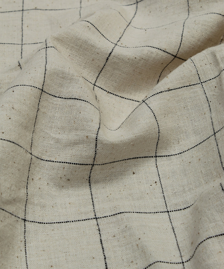 off white checks handloom cotton fabric