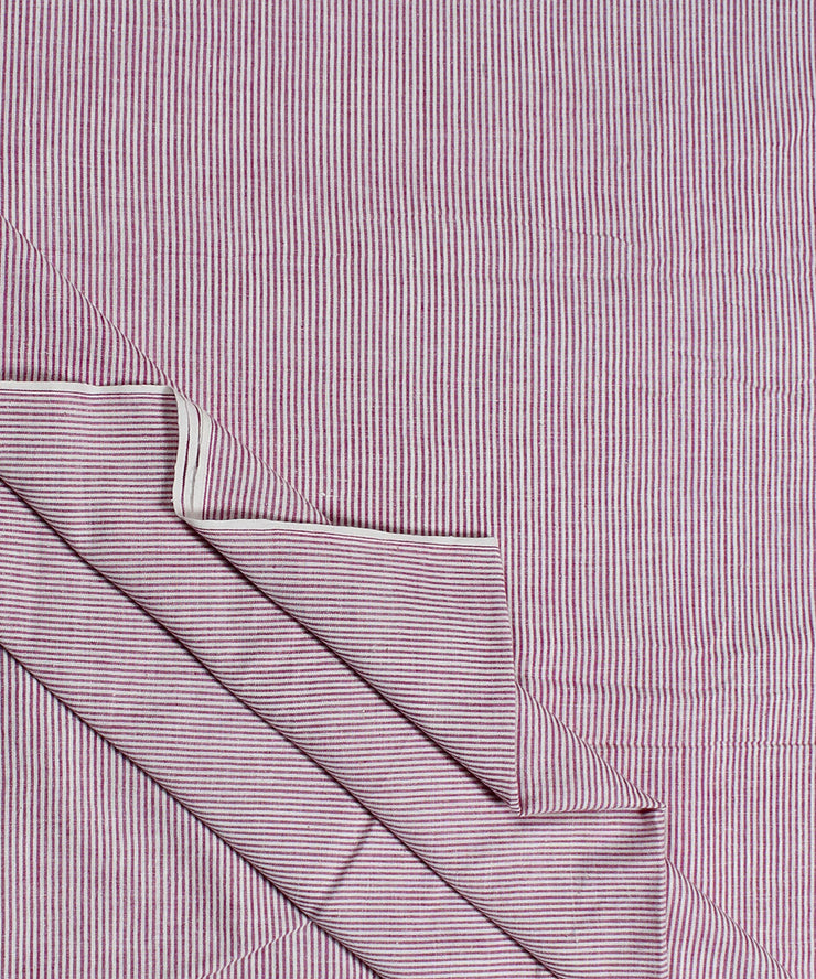 pink white stripe handwoven cotton fabric