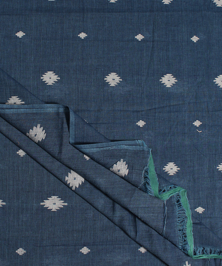 dark blue muslin jamdani handloom fabric