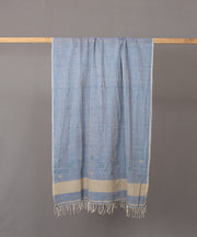 Powder blue stole in floral motif